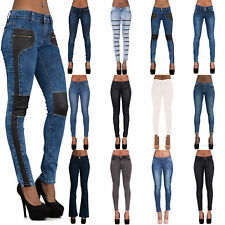 NEW Ladies Sexy Low Rise Faded Blue Skinny Jeans Slim Fit Stretch Pant Size 6-14