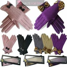 LADIES NEW WOOL LEOPARD CLASSIC LEATHER BOW DECOR WINTER EVENING GLOVES GIFT