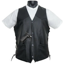 Tall Size Concealed Carry Classic Biker Motorcycle Leather Vest Black