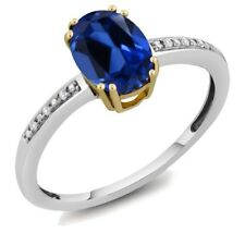10K Two Tone Gold Womens Oval Simulated Sapphire  Diamond Ring (Size 5,6,7,8,9)