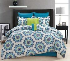 NEW Queen King Bed 12 pc Blue Green Off White Medallion Comforter Sheets Set NWT