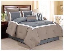 NEW Queen Cal King Bed 8pc Taupe Brown Gray Stripe Comforter Set Embroidered NWT