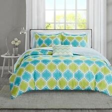 NEW Twin XL Full Queen Cal King Green Blue Chevron Geo 8 pc Comforter Sheet Set