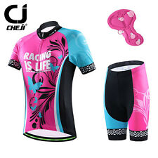 Womens CHEJI Cycling Jersey Kits Bicycle Jersey Top & Bike Shorts With Pad S-XXL