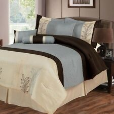 NEW Queen King Bed 7pc Ivory Blue Brown Embroidered Floral Comforter Set Elegant