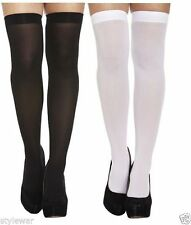 ladies/ Girls Sexy Plain Hold Up Over The Knee Stockings Black & White
