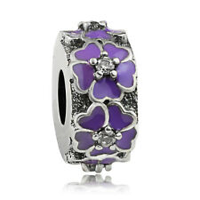 S925 Sterling silver Purple Enamel Cherry Blossom Flower Spacer Charm Clear CZ