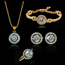 Gifts 18K Gold Gp Swarovski Crystal Jewelry Necklace Earring Bracelet ring Set