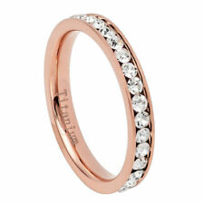 3mm Titanium Band Rose Gold IP Plated Eternity Ring Cubic Zirconia CZs