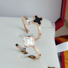 14K Rose Gold Filled Stainless Steel Jewelry Four Leaf Clover Women's Rings
