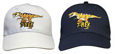 Boys Kids Dinosaur T-Rex Adjustable Cotton Baseball Cap Summer Hat White or Blue
