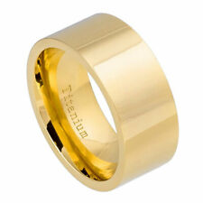 Men's 10mm Titanium Band High Polished Pipe cut Yellow Gold IP Ring / Gift box