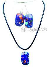 "Big 20*30mm Blue Multicolor Cuboid Agate pendant 19"" Necklace & earring set-5719"