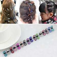 12Pcs Fashion Girls Sweet Rhinestone Crystal Flower Mini Hair Claws Clips Clamps