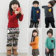 Kids Boy Girl Pocket Long Sleeve Cotton T-shirt Casual Tee Tops Toddler Clothes