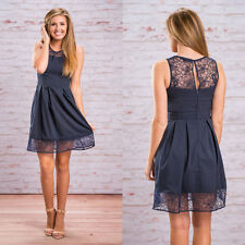Lady Trendy Crew Neck Sleeveless Lace Hem Cocktail A Line Corset Pleated Dress