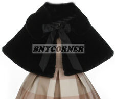 Black Kids Faux Fur Ribbon Tie Special Occasion Bolero Cape Flower Girls