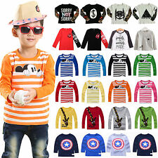 Kids Boys Girls Long Sleeve T-Shirt Blouse Printed Tee Tops Toddler Clothes 1-8Y