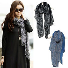 Fashion Women's Vintage Long Soft Voile Printed Scarves Shawl Wrap Scarf Gift