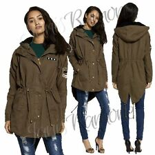 New Womens Military Embellishment Khaki Hooded Parka Jacket Fishtail Trench Coat