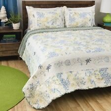 NEW Twin Full Queen King Bed Blue Green Seashells Coral Ocean 3 pc Quilt Set NWT