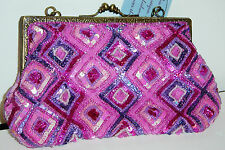 Vintage Handmade Embroidered Beaded Sequins Women Evening Purse Handbag Clutch