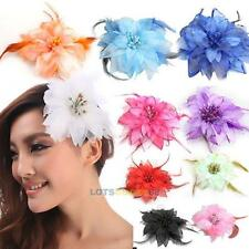 Headdress Flower Feather Belly Dance Hair Pin Brooch Clip Party Wedding     LS4G