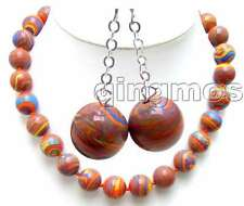 """SALE Beautiful Big 14mm Round Red Stripe Agate 18"""" necklace and earring set-5743"""