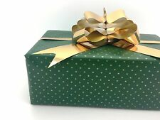 Quality Green&Gold Tiny Dots Christmas Gift Wrap Paper (25 SHEETS) Bulk Vintage
