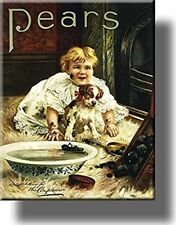 Pears Soap Dirty Boy and Dog Bathroom Picture on Stretched Canvas, Wall Art Deco