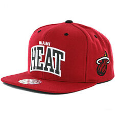 """Mitchell & Ness """"Reflective Arch"""" Miami Heat Snapback Hat (Red) Mens 3M Cap"""