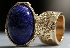 LAPIS DARK BLUE GLASS KNUCKLE ART RING GOLD WOMEN VINTAGE ARTY CHUNKY STATEMENT