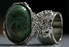 GREEN MARBLE SWIRL KNUCKLE ART RING SILVER WOMEN VINTAGE ARTY CHUNKY STATEMENT
