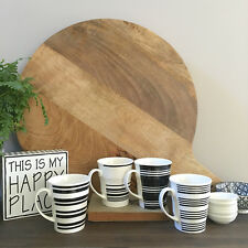 Set of 4 Black & White Striped Coffee Mug Set/Mugs Set/Ceramic Coffee Mugs
