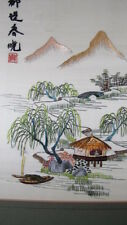 Japanese Embroidered framed Silk  picture, Tree , mountains , boat and house