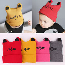 Winter Warm Baby Kids Crochet Beanie Boy Girl Cute Cat Hat Wool Knit Beret Cap