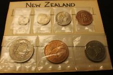 7Pc 1963 New Zealand Coin Set. Half Pen, Pen 3, 6 pence floren shilling H/Crown