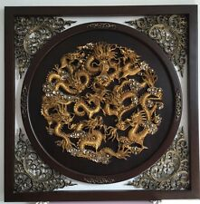 2x Chinese Dragon Wood Carving Hanging Picture