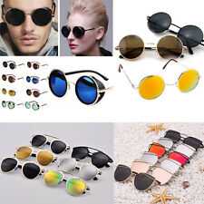 Men Women Mirrored Lenses Designer Retro Vintage Cat Eye Oversized Sunglasses
