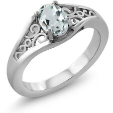 0.43 Ct Oval Sky Blue Aquamarine 925 Sterling Silver Ring