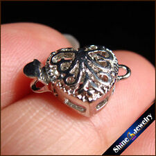 10 pcs white Gold Plated Heart Filigree Flower Box Clasps 11x12mm FINDINGS
