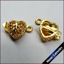 Wholesale 10 pcs Gold Plated Heart Filigree Flower Box Clasps 11x12mm FINDINGS