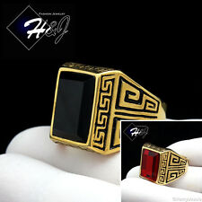 MEN Stainless Steel Gold/Black Greek Key Rectangle Onyx/Ruby Ring Size 7-13*GR86