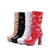 Fashion Womens Patent Leather Patform Block High Heels Mid Calf Boots shoes Size