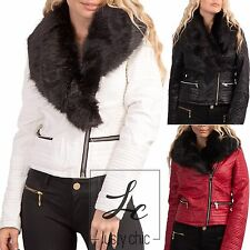 Womens Synthetic Leather Detachable Faux Fur Collar Sexy Biker Jacket Size 8-14