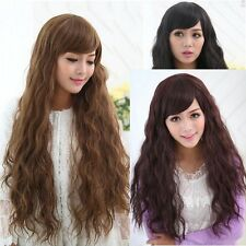 New Fashion Lady Sexy long Full Wig Curly Wavy Hair Wigs Cosplay Party 3 Colors