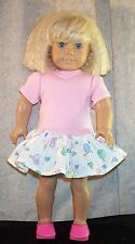 """Doll Clothes fits American Girl 18"""" inch T-Shirt Dress Pink Blue Lilac Hearts"""