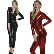 Sexy Women's Wet Look Gothic Fetish Catsuit Costumes Catwoman Teddy Clubwear