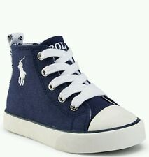 Ralph Lauren Polo Harbour Canvas Hi Top Sneaker Navy/White Toddler 7, 7.5