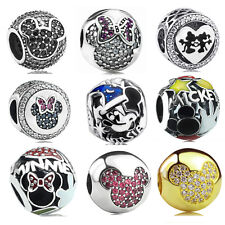 S925 Sterling Silver Disney Minnie Mickey Series Charm Clips bead fit Bracelet